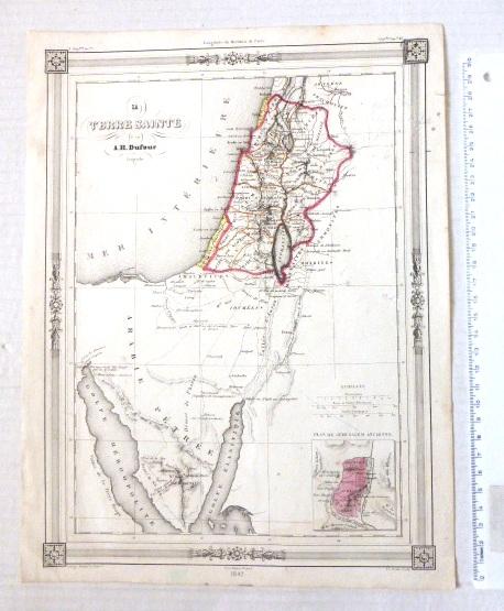 תחריט, מפת ארץ הקודש La Terre Sainte, Paris, 1842