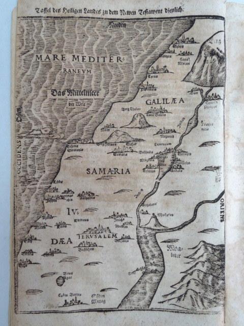 מפת ארץ הקודש לפי הברית החדשה תחריט נחושת בתוך ספר על הברית החדשה, מגדהבורג 1616