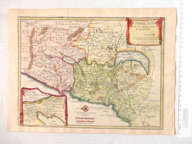 תחריט נחושת צבוע ביד, מפת הארץ הקדושה La Terre Sainte