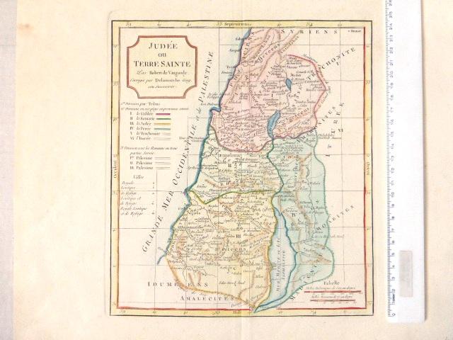 תחריט נחושת צבוע ביד, מפת יהודה וארץ הקודש, Judee ou Terre Sainte, Laor 670