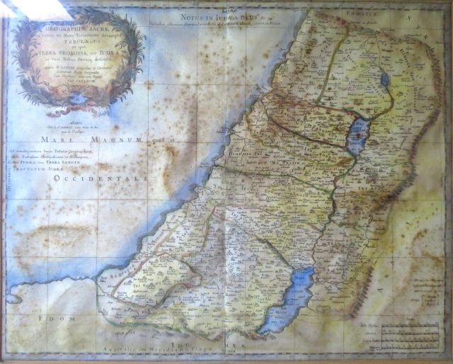"""מפת א""""י, תחריט נחושת עם אקוורל, 1679  (חלודה), Geographiae Sacrae ex Veteri et Novo Testamento  desumptae"""