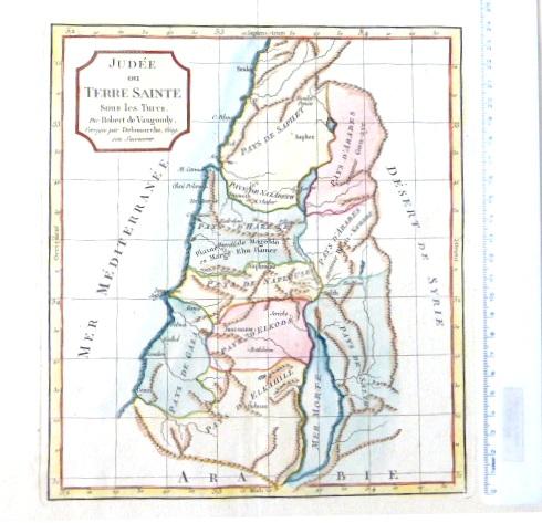 תחריט נחושת צבוע ביד, מפת יהודה וארץ הקודש בזמן הטורקים, Judee ou Terre Sainte sous les Turcs, Laor 671