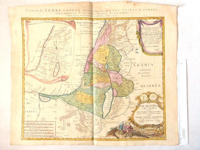 תחריט נחושת צבוע ביד, Palaestina in XII Tribus, ca 1750, Laor 325