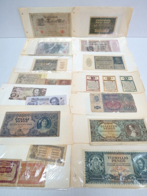 לוט 35 שטרות, כולל: א. גרמניה לפני ואחרי מלחמת העולם הראושנה, כולל Notgeld,  ב. אוסטריה, ג. הונגריה ד. יוגוסלביה