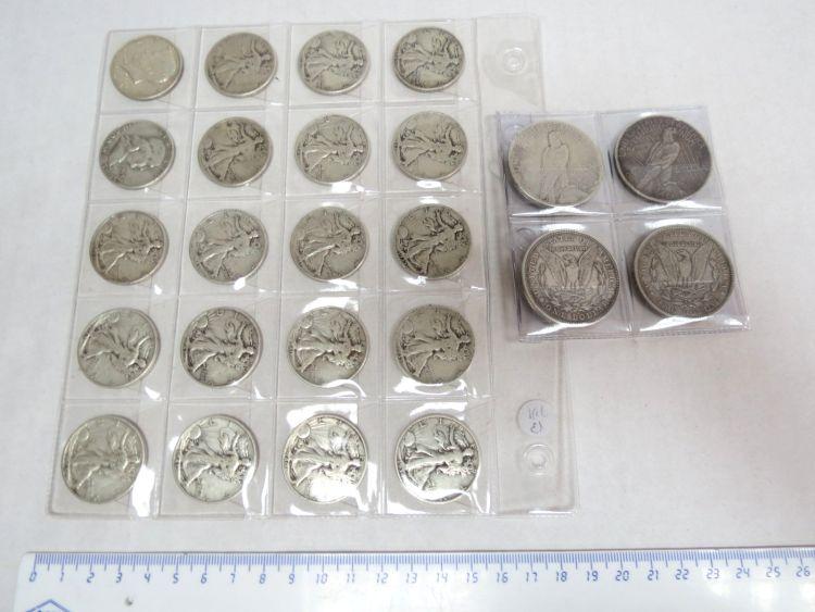 """לוט מטבעות כסף, ארה""""ב: 1 דולר, 1889, 1921, 1922 (2), חצי דולר 1934, 1935 (2), 1937, 1939, 1940 (2), 1941(4), 1942, 1943 (2), 1944 (2), 1945 (2), 1953, 1964, ס""""ה כ-357 גרם"""