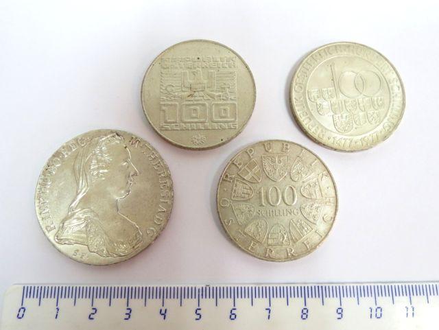 ארבע מטבעות כסף, אוסטריה א. מריה טרזיה 1780 Restrike, ב. 100 שילינג, 1976-1977