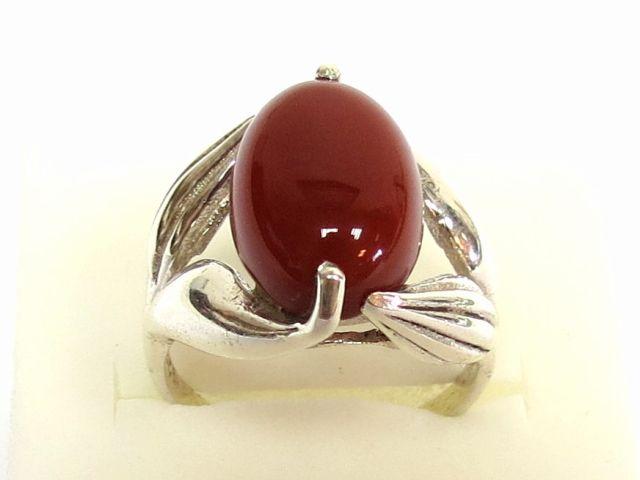 טבעת כסף עם שיבוץ קורניאול קבושון, מידה 7