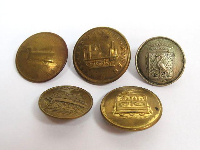 חמישה כפתורי מדים של עובדי רכבת הולנד, המאה ה19