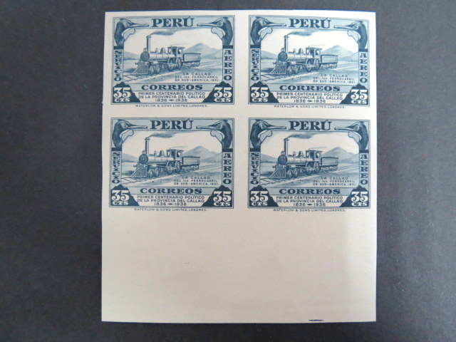 Peru 1936 imperf proof block of 4 stamps, locomative train, railway