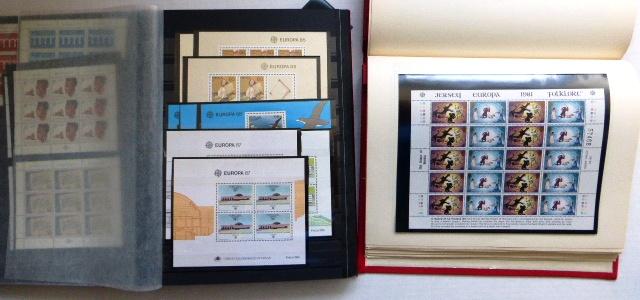 אוסף אירופה 1960-1987 בולים וגליונות, כולל ליכטנשטיין 1960 collection of MNH stamps and sheets, in two albums, including Liechtenstein 1960 n/s, high catalogue value