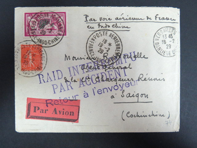 "France to Saigon 1929 crash cover, ""Raid Interrompu Par Accident""  cachet"