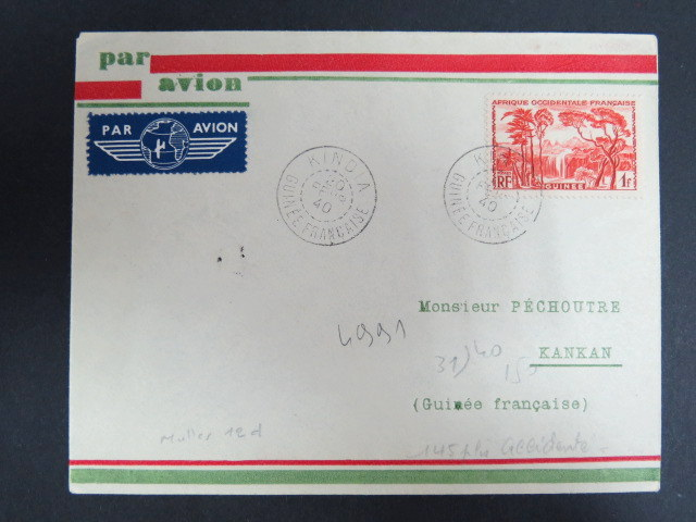 French Guinea 1940 crash cover FFC-first flight conakry - Kankan