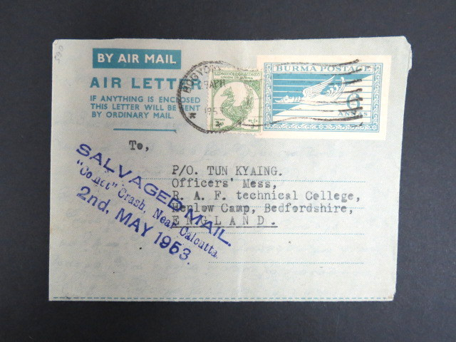 Burma 1953 crash cover to England