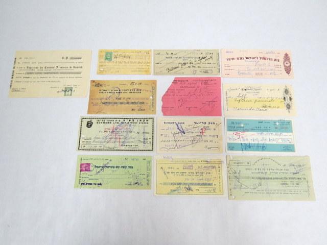 לוט קטן של 13 המחאות-שטרות תקופת המנדט, ושנות ה50, בנק אנגלו, בנק קופת עם, בנק קלינגר, יעקב יפת ושות, בנק קדם, הכנסיה הארמנית ועוד