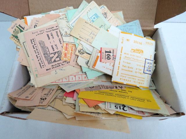 לוט כרטיסי אוטובוס ומוניות כרטיסי כניסה שונים, הכנסת, תיאטראות וכו', ישראל, שנות ה40-80