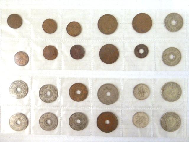 לוט מטבעות מנדט: 100 מיל (1927,1935) 50 מיל (1935,1939), 20 מיל (1927, 1942), 10 מיל (8), 5 מיל (1), 2 מיל (3), 1 מיל (6), מצבים שונים