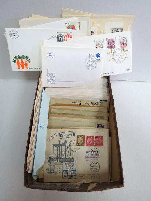 לוט בולי ישראל: מעטפות יום הופעת הבול, מעטפות שנשלחו, בולים חתומים ולא חתומים, cutouts