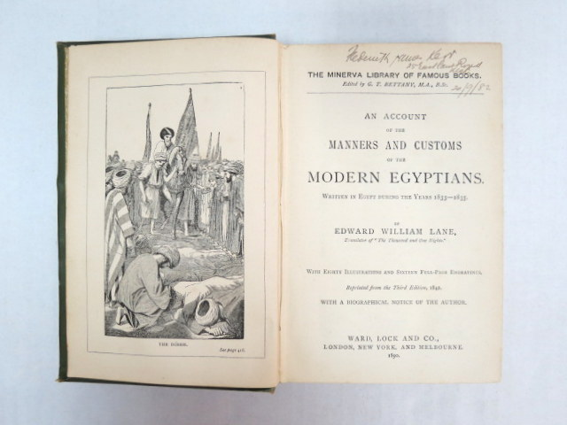 An Account o.t. Manners and Customs of the modern Egyptians, London, N.Y. Melbourne, 1890