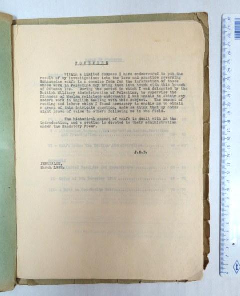 Mohammedan Wakfs in Palestine, JLM. 1922 טיוטא בסטנסיל לספר אודות הוואקפ המוסלמי בארץ ישראל, (הספר יצא בשנה זו בהוצ' Greek Convent publ, במהדורה יחידה)