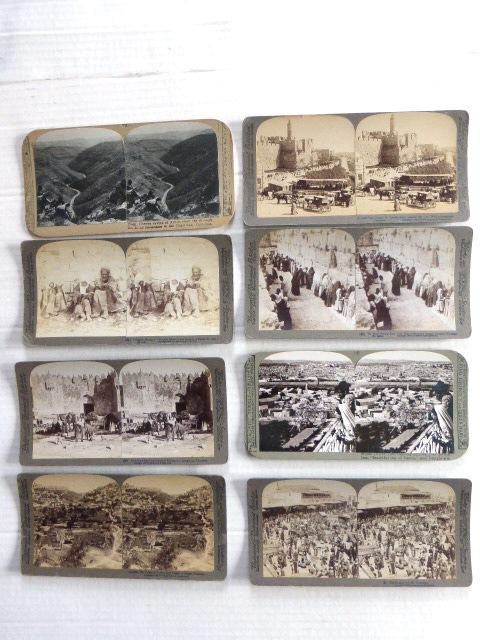 שמונה צילומים סטריאוסקופים נופי ארץ ישראל, סוף המאה ה19 תחילת ה20: מגדל דוד, השוק ביפו, נחל קדרון, שער שכם, הר הזיתים, קבצנים