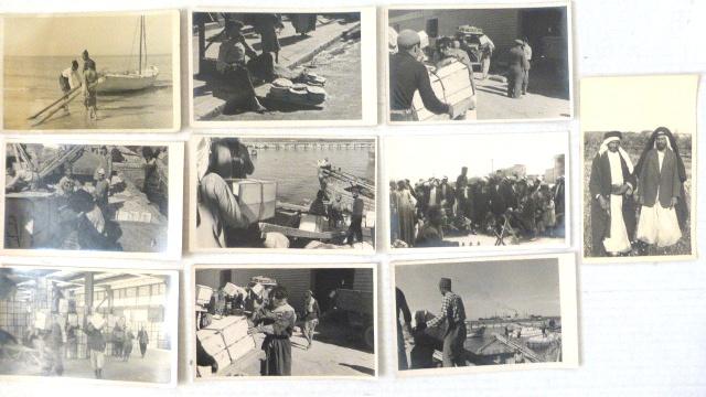 """עשרה צילומים, גודל גלויה כ""""א סבלים ערבים בנמל יפו ועוד"""
