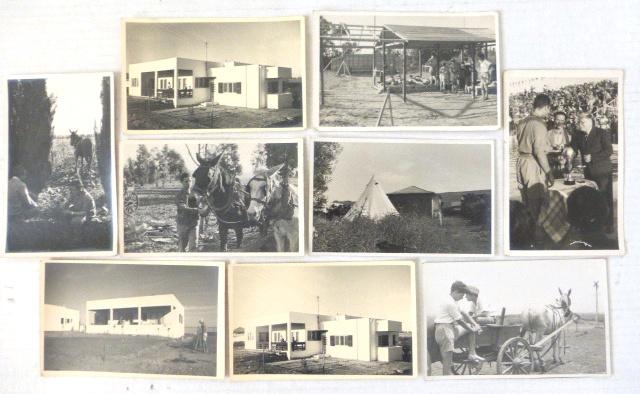 """תשעה צילומים, גודל גלויה כ""""א תל יוסף 1935, בתים, הכרם וכו"""