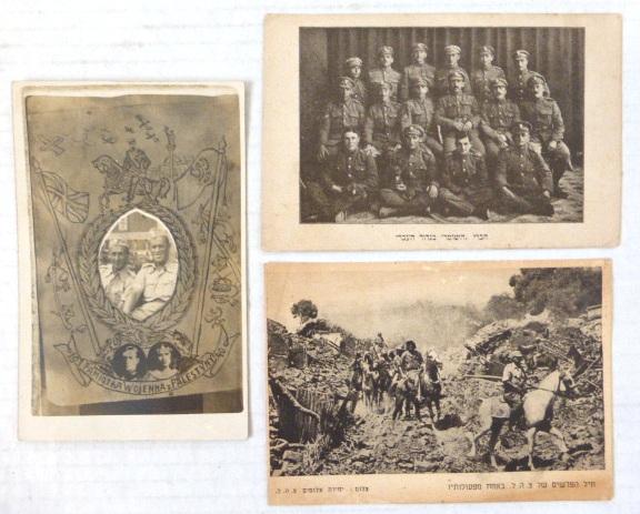 """שלוש גלויות, חיילים בישראל: א. עם צילום שני חיילים פולנים מ""""צבא אנדרס"""" בשרות הצבא הבריטי , 1940, ב. חיל הפרשים של צה""""ל, 1949, ג. חברי """"השומר"""" בגדוד העברי"""