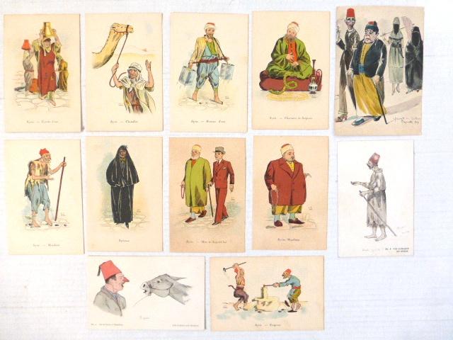 12 גלויות מצוירות ציורים הומוריסטים מהן 11 של טיפוסים בסוריה, ואחת של ביירות 1919