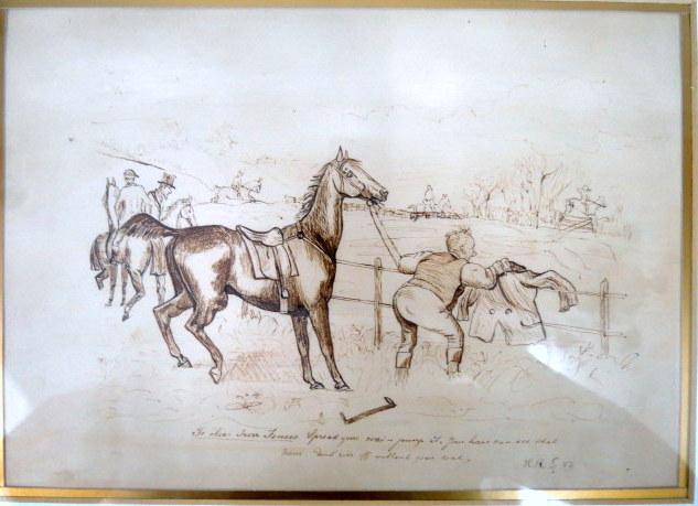 שני רישומים (דו צדדי): א. קריקטורה של איש עם סוס,  16X23ב. דיוקן גבר, 17.5X11.5