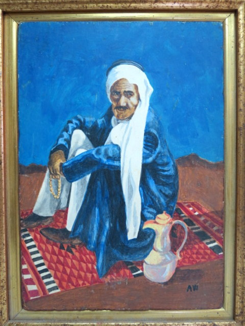 שמן על דיקט, ערבי יושב על שטיח חתום, 20X14