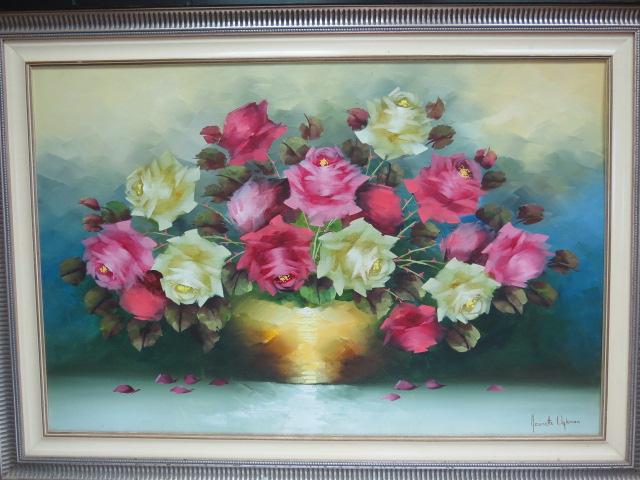 שמן על בד מוצמד לקרטון, פרחים, חתום, 76X107