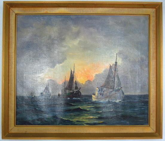 שמן על בד, סירות דיג בים מול השקיעה, חתום 49X50