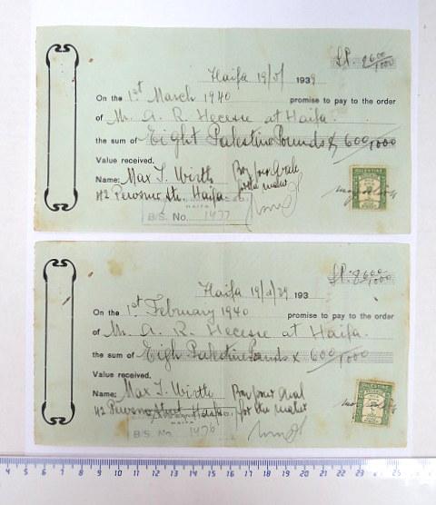 """שתי המחאות- שטרות, נפדו בבנק ברקליס, א""""י בפברואר, ומרץ 1940"""