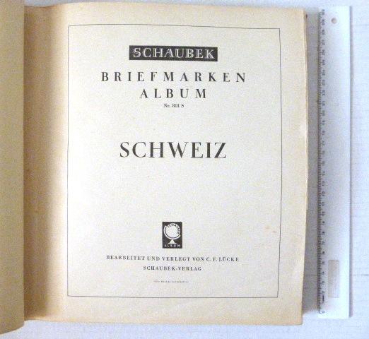 אלבום Schaubek, עם אוסף שוויץ חלקי, 1854-1979, לא שלם, כולל בולי Pax, ודואר אוויר