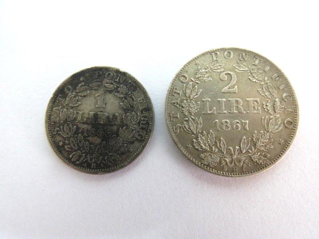 שתי מטבעות ותיקן, כסף, א. 1 לירה 1866, ב. 2 לירה 1867, האפיפיור פיוס ה-9, מצב VF