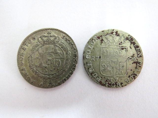 שתי מטבעות כסף, פולין, שלטון Stanislav August 1764-95 א. 4 גרושן, 1766, מצב VF ב. 4 גרוש-1 זלוטי, 1794, מצב VF