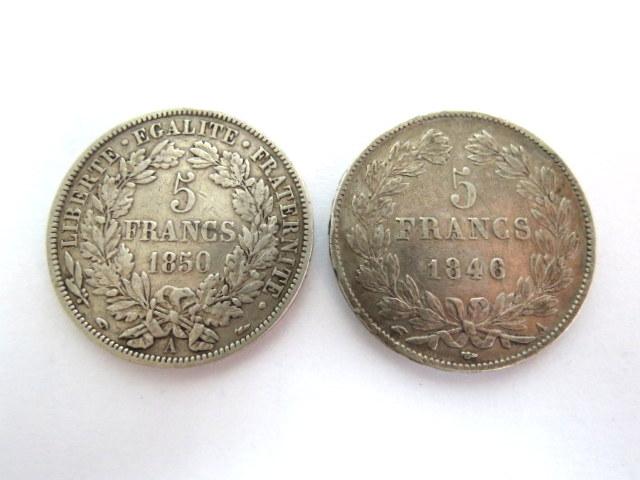 "שתי מטבעות כסף, צרפת א. Louis-Philippe I 1830-1848, ע""ס 5 פרנק 1846 ב. Republique France, 1850"