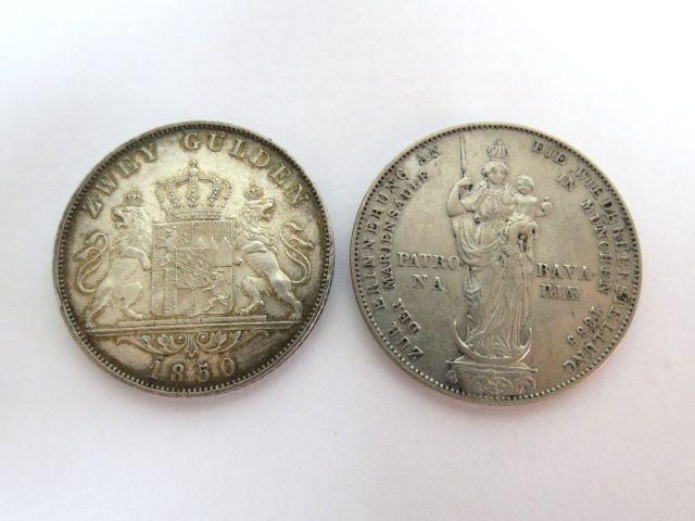 """שתי מטבעות כסף 900, בווריה שלטון המלך Maximilian II, ע""""ס שני גולדן Zwei Gulden א. 1850 ב. הטבעה מיוחדת לרגל שיקום פסל המדונה במינכן, 1855"""