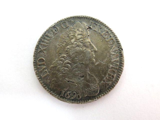 """מטבע כסף ע""""ס Ecu, צרפת 1690 שלטון המלך לואי ה14, מטבעת פריז"""