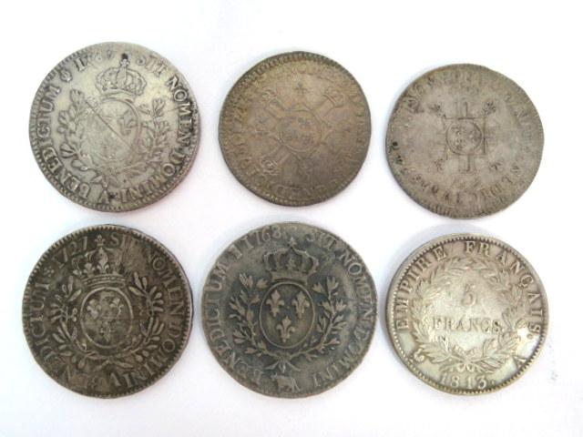 שש מטבעות כסף, צרפת, שלטון Louis 14, 1649, שלטון Louis 15, 1727, שלטון Louis 16, 1768, 1783, קיסר נפוליאון, 1813