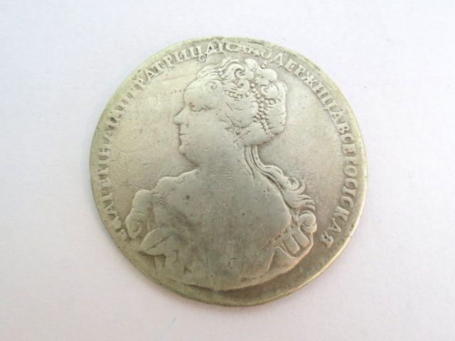 """מטבע כסף, רוסיה הצארית שלטון קאטרינה ה-I, ע""""ס רובל רחד, 1725, מצב VG"""