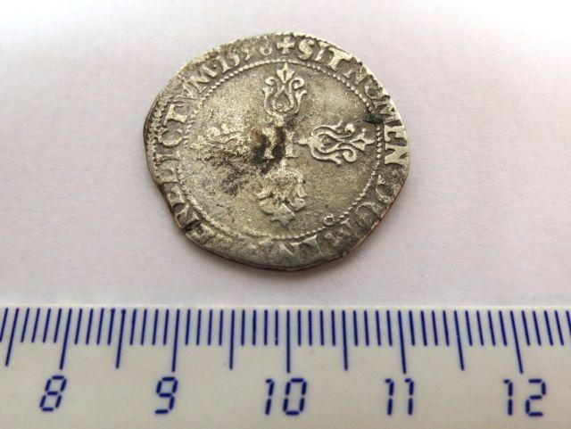 """מטבע כסף, צרפת, שלטון Henri IV Bourbon, ע""""ס חצי פרנק 1596, Rennes mint"""