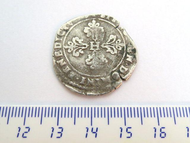 """מטבע כסף, צרפת ופולין, שלטון Henri III Valois, ע""""ס חצי פרנק 1578, Angers mint, מצב fine"""