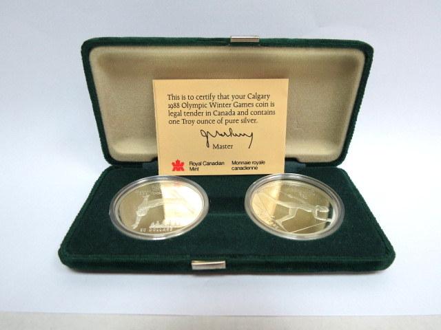 """שתי מטבעות כסף 925, ע""""ס 20 דולר קנדה כ""""א , 34.1 גרם, כ""""א לכבוד משחקי החורף האולימפיים ב Cross country skiing- Free style skiing 1988 Calgary"""