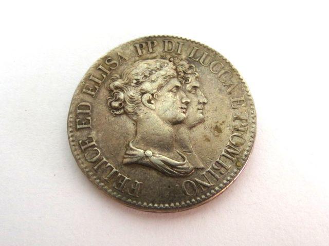 """מטבע כסף ע""""ס 5 פרנצ'י Franchi של עיירה Lucca, צפון איטליה, 1808, זמן שלטון אחותו של נפוליאון"""