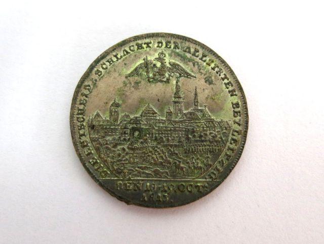 מדלית זכרון לקרב בלייפציג של ה18-19 באוקטובר, 1813, עם דיוקנאות פרנץ ה-I קיסר אוסטריה, ואלכסנדר, צאר של רוסיה