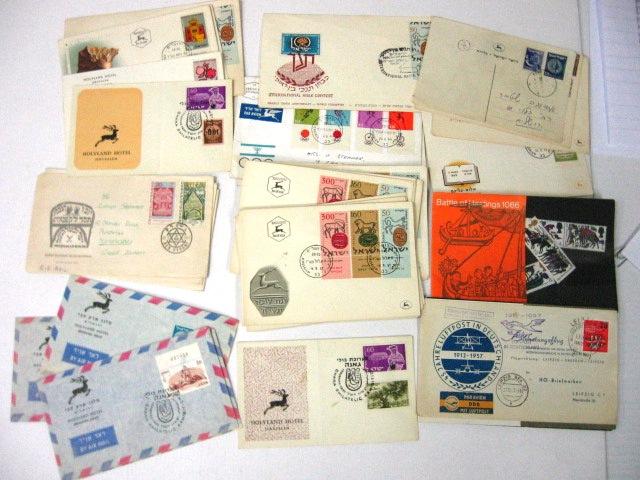 36 מעטפות פילטליות יום הופעת הבול וכו', ישראל, ארצות נוספות וכן 2 הוצ בולים בריטית