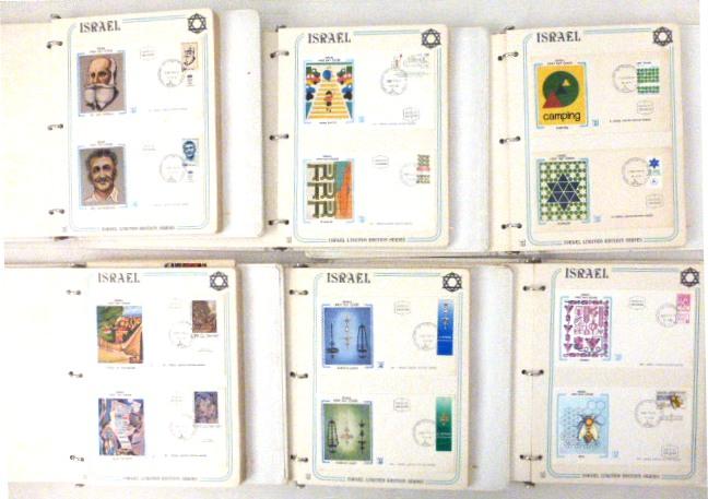 """ששה אלבומים עם 281 מעטפות יום הופעת הבול, ישראל, 1976-1983, מהדורה מוגבלת Israel limited edition series, (Thomas Binder USA) , כ""""א עם הדפס מיוחד ע""""ג בד מוצמד למעטפה (כתמי חלודה)"""