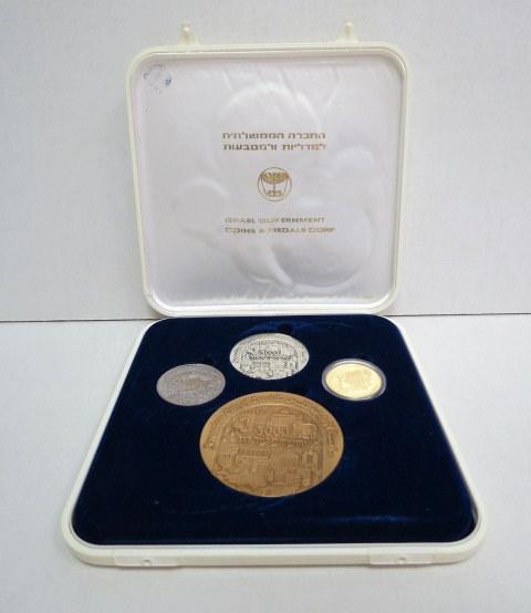 """סט מדליות ירושלים 3000 עיר דוד, תשנ""""ה, 1995, כולל: ארד, כסף 999, 61 גרם, ניקל, וזהב 750 18K, משקל 15 גרם"""