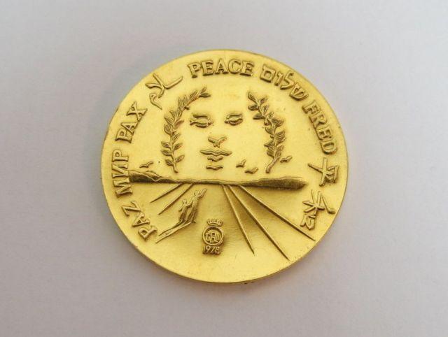 """מדלית זהב 22k מסדרת השלום תשל""""ח 1978, 31.1 גרם"""